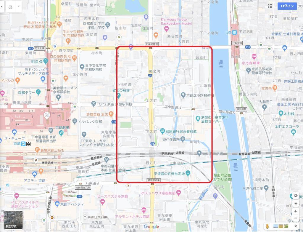 崇仁地区の地図